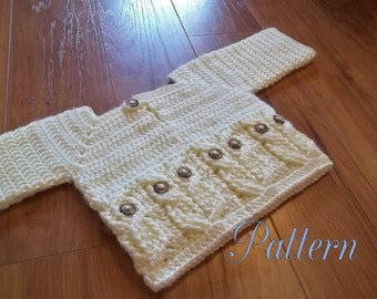 Crochet Pattern Only, It's a Hoot Owl Baby, toddler and child size Sweater make one for your little one today.