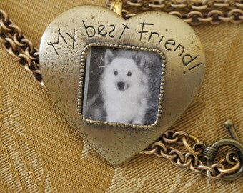 JJ Jonette Offers this Delightful Frame Which Displays a Photo of Your Best Friend. Brass Heart shaped JJ Brooch