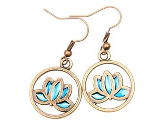 Lotus Earrings, Lotus Jewelry,hand painted jewelry