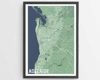Two-tone Adelaide Map Print Various Colours / South Australia / City Print / Australian Maps / Giclee Print / Poster