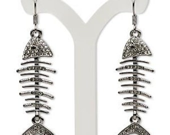 Gunmetal Smoke Crystal Fish Skeleton Earrings