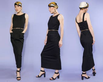 90s Depeche Mode black utility style maxi dress - button up back | size small