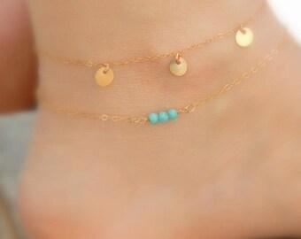 Coins anklet, Dainty anklet, Gold anklet, Simple coin anklet, Gold filled foot bracelet, Three coins, Greek anklet