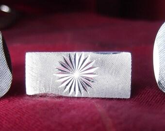1970's metallic, silver colour, cuff links and tie clip