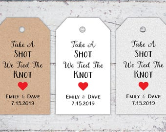 Take A Shot We Tied The Knot Wedding Favor Tags | 3.25 x 1.875 | Printable Wedding Favor Tags | Mini Liquor Bottle Wedding Favors Download