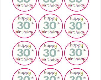 Edible Happy 30th Birthday Cupcake Cookie Toppers