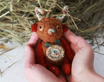 For blythe doll, Spring Petite Toy, Flowering horns, Monster Teddy bear, Woodsman, Amanita Gift Toy for her woodland Amulet Teddy Creatures