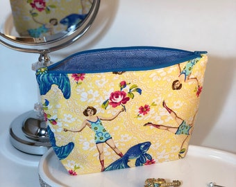 Gift Cosmetic Bag Vintage Style - Goldfish - Bridesmaid Gift - Teacher Gift - Graduation Gift - Retro - 50's