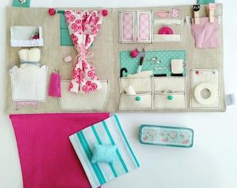 Sewn Dollhouse with Miniature Accessories / Travel Dollhouse / Portable Fabric Dollhouse