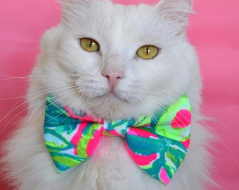 Lilly Pulitzer Inspired Guac Out Bow Tie- Cats and Dogs