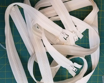 "3 each, white, 60"" YKK zippers"