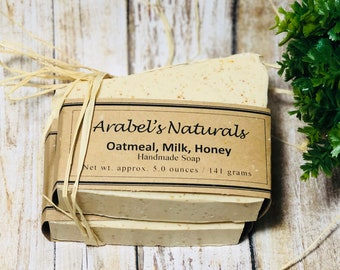 Oatmeal milk and Honey Soap - Oatmeal Milk Honey Soap - Natural Exfoliating Soap - Moisturizing Oatmeal Soap - Natural Soap - Bar Soap