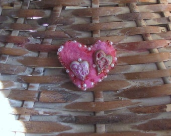 Pink Heart Pin/ Needle Felted and Beaded with Clay Heart Accents