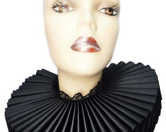 Ruffled Collar Black Satin Tall Wide Elizabethan Neck Ruff Victorian Steampunk Gothic Edwardian