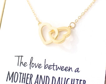 Gold Interlocking Heart Necklace - Necklace - Heart Necklace - Mothers Day Necklace - Heart Pendant Necklace - Mothers Day Gift