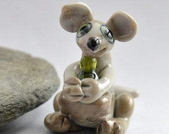 KANGAROO with Wine, Sculpture Collectible, Focal Bead, Pendant, Izzybeads SRA
