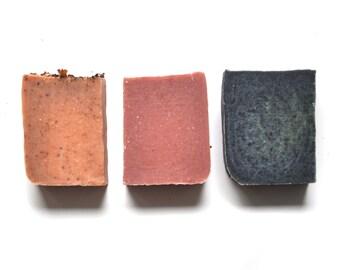 Set of 3 Detox Soap Bars. Small batch. 100% Natural. Cold Process. Soap Gift Set.