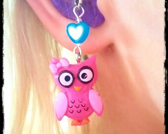 Hearing Aid Charms: Bright Owls with Czech Glass and Acrylic Heart Accent Beads!