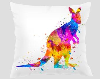 Watercolor Kangaroo Throw Pillow, Watercolor Kangaroo  Pillow, Pillow Cover, Accent Pillow, Nursery Decor, Kids Room Decor