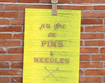 You Give Me Pins and Needles - Blank Inside - Sewing Pun Card