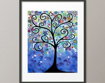 Gallery Canvas and Fine Art Prints Colorful Fine Art Print Whimsical Tree Scenic Garden Landscape Flowers Folk Giclee Elena