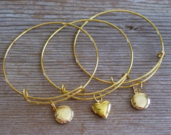 Gold Locket Bracelet, Locket Bangle Bracelet, Gold Locket Charm, Heart Mini Locket, Layering Bangle, Stackable Bangle