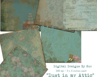 INSTANT DOWNLOAD - Dust In My Attic Paper Pack - Original Design  - Printable Digital Collage Sheets - Digital Download