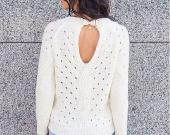 Knitted sweater open back Warm winter sweater Autumn sweater Woman sweater White sweater Sweater with long sleeve Party sweater Bow sweater