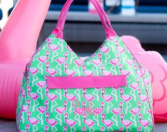 Monogram Flamingo Beach Bag   Flamingo Pool Bag   Monogram Pool Bag   Overnight Bag   Zipper Bag   Summer Bag   Wedding Gift   Vacation Bag