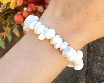 Chunky snow white quartz nugget stretch bracelet, natural milky white quartz bracelet