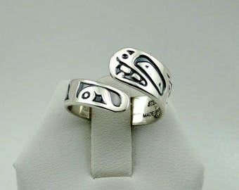 """Very Collectable Danny Dennis Native American Artist""""Frog"""" Sterling Silver Ring  FREE SHIPPING! Northwest Native American #FROG-SR7"""