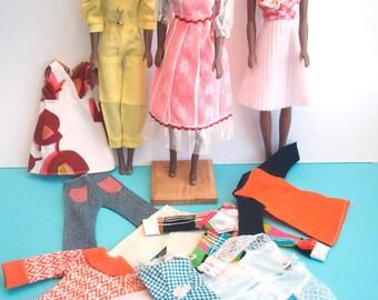 Three Vintage Afro-European American Black 1960s Barbie Vinyl Clone Maddie Mod & Outfits Bild Lilli Babs Miss Seventeen Marx Fashion Doll