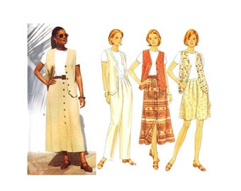 Misses Vest Top Skirt Wide Leg Shorts Tapered Pants Butterick 4505 Sewing Pattern Size 12 - 14 - 16 Bust 34 - 36 - 38 UNCUT