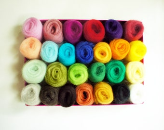SALE - 24 colour Needle Felting Wool - Needle Felting Wool Platter- Wool Roving for Felting and Spinning - New Zealand Wool - Ready to Shiip