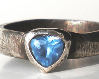 Genuine Silver Ring - Handmade Sculpture, OOAK with Triangle Aquamarine Zircon, Pure Recycled Fine Silver - On Sale