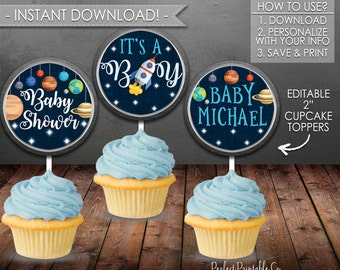 Outer Space Cupcake Toppers, Planet Cupcake Toppers, Solar System Cupcake Toppers, Baby Shower, Instant Download, Editable, Printable #586