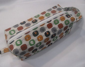 Halloween Squares with surprise pumpkin embroidery inside - Cosmetic Bag Makeup Bag LARGE