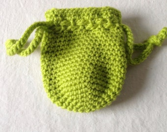 Lime green crochet drawstring pouch, crochet coin purse in lime green
