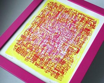 ROSA LIMONADE | abstrakte Linie Kunst | hellen Cmyk-Farben | limitierte Auflage-Siebdruck | von Kathryn DiLego