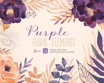 Purple Floral Elements. 26 Digital Clipart. Hand painted, watercolour flowers, wedding diy elements, invite, printable, greetings, peonies