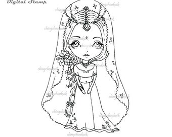 Indian Bride Dollie - Digital Stamp Instant Download /  Cute Exotic Oriental Asian Indian Bride Flower Fairy Doll by Ching-Chou Kuik