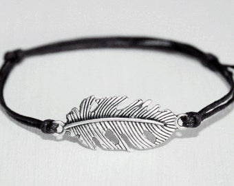Leaf Feather Bracelet or Anklet, Antique Silver, Man Bracelet,Unisex Jewelry, Woodland, Nature Inspired, BFF, Friendship, Birthday Gift,