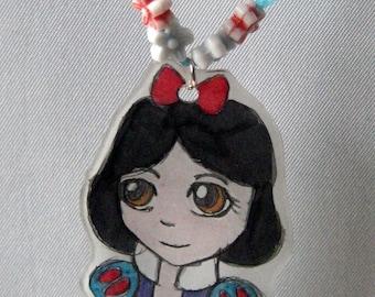 child necklace - Princess - white snow - cartoon