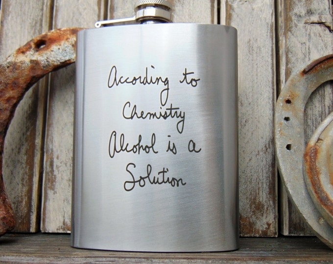 Personalized Flask, Polished Stainless Steel Hip Flask, with attached cap -Use your own Handwritten Message - or Text Font- Gifts for Him