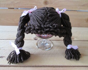 cabbage patch costume, cabbage patch wig, cabbage patch hat, halloween baby, brown wig