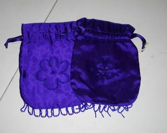 Hand Beaded Satin Drawstring Bag