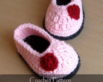 CROCHET PATTERN - Valentine Baby Shoes Heart Slippers House Baby Sandals Pink Red Hearts Baby Girl Booties 0-12 months PDF - P0046