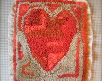 Antique Heart Hooked Wool Mat - Linen OR Paper Pattern- from Notforgotten Farm