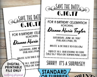 "Save the Date for a Birthday Party, Matches Flashback Invitations, Standard or Surprise Birthday Save the Date, PRINTABLE 5x7"" Save The Date"