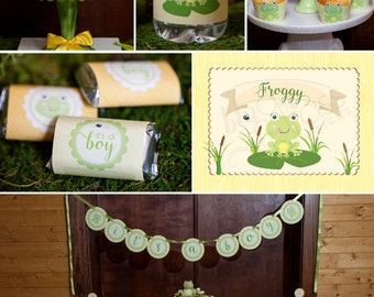 DIY Printable Baby Shower, Birthday Party Package by BluGrass Designs - Froggy